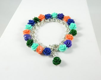 Charms bracelet multicolor roses