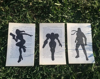 Set of 3 Silhouette of Zero Suit Samus, Samus and Snake
