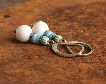 Baby blue and white earrings with Bali silver and vintage glass beads.  Simple and sweet.