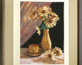 Camomiles on the black. Kit for Cross Stitch Embroidery