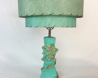 1950s Turquoise Lamp and Fiberglass Lampshade