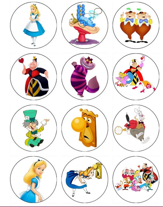 Alice in Wonderland Edible Image Cupcake Toppers ...