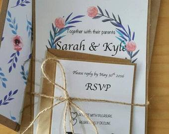 Floral kraft wedding invitations***