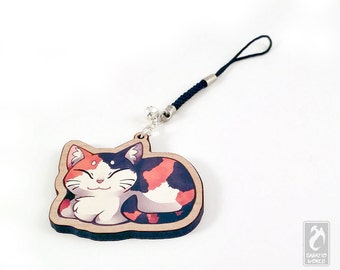 """Chibi Calico Catloaf - 2"""" cherry wooden charm - Cat Illustration charm keychain"""