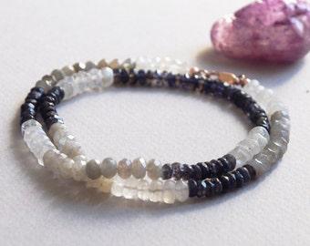 Delicate Moonstone Iolite & Labradorite Gemstone Wrap Bracelet w/ 14k Rose Gold, Minimal Healing Jewelry, 5mm Blue 6mm Grey 7mm Cream Beads