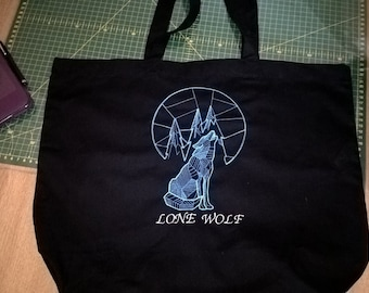 lone wolf tote bag embroidered - custom wording