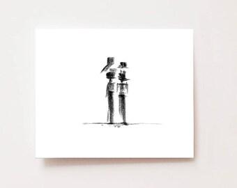 "Minimalist figure drawing- ""Harmony"" - Fine art Giclee print, Wall art, abstract art, modern art, charcoal drawing, minimalist wall art, man"