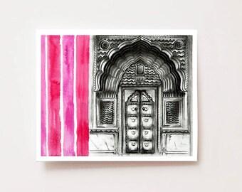"Indian art, ""Palace Gate, Rajasthan"", Fine art Giclee print, Indian wall art, Indian wall decor, charcoal drawing, travel art, India art"
