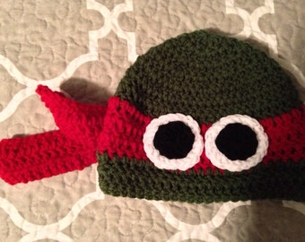 Hand Crochet Raphael Teenage Mutant Ninja Turtle Hat