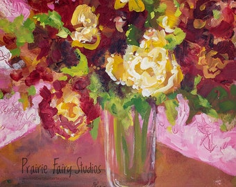 Glass Vase - archival print on paper - from original mixed media painting