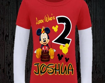 Mickey Mouse Birthday Shirt - Red and Black