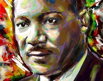 Martin Luther King Art Print, MLK art, History Artwork