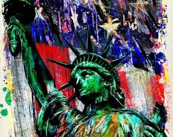 Statue of Liberty Art Print, USA Art, American Flag painting
