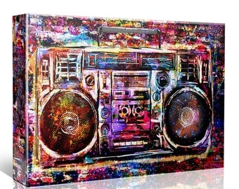 Boombox Art, Music art, Radio Canvas, Stereo Painting