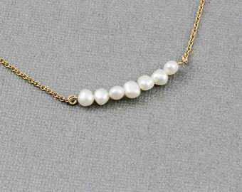 Long Pearl Bar Necklace - Sterling Silver, Gold Filled, Pearl Pendant Necklace, . Bridesmaid Pearl Necklace