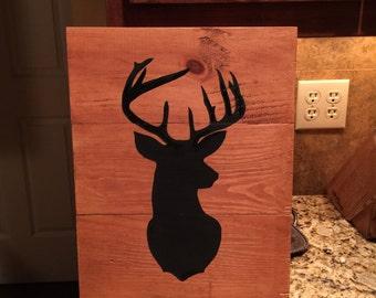 Deer Silhouette - hand painted 13x18