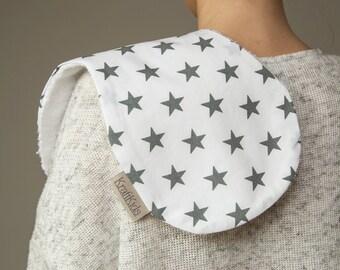 KraftKids burp cloth - grey star on white