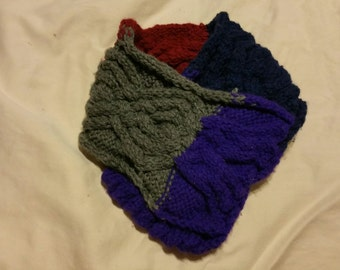 Handmade Knit Cabled Children's cowl scarf