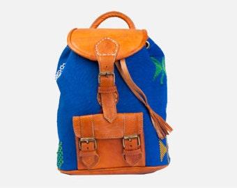 Blue Kilim Backpack, boho leather backpack, festival backpack, moroccan leather, boho bag