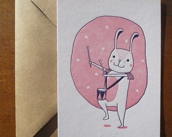 Letterpress Card   Rabbit with Drums