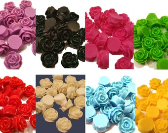 20 x Sparkly flat back resin rose bud flower 13mm x 8mm embellishment cabochons