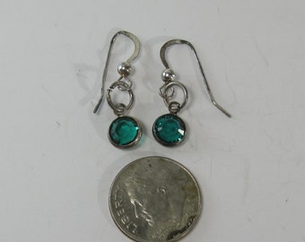 Vintage Sterling Silver Green Gemstone Earrings