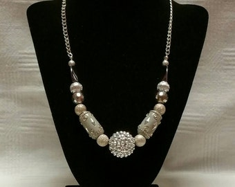 Silver Chunky Beaded Necklace