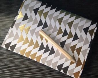 Gold Black & White Chevron Triangle A6 Hardback Notebook Journal