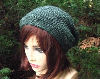 Slouchy green beanie, handmade crochet hat, winter hat