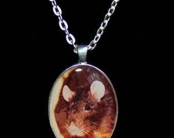 Oval Rat Portrait Necklace