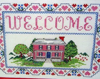 Counted Cross Stitch Kit, Welcome Sampler, Vintage