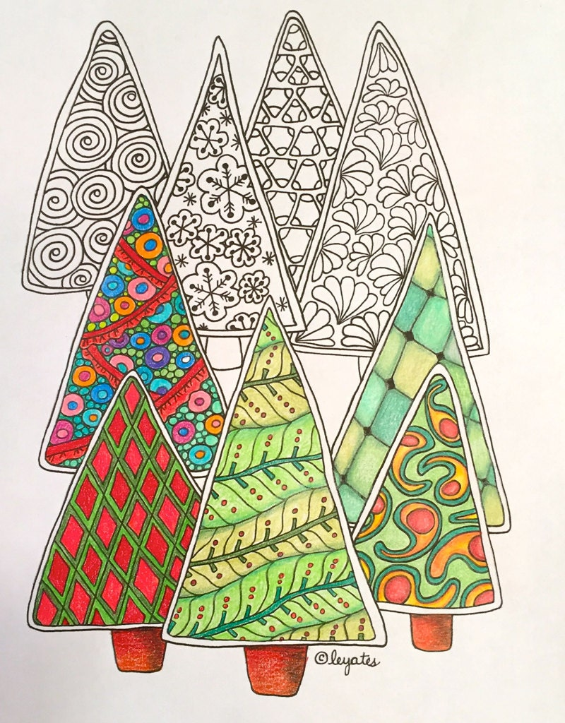 Christmas Trees Zentangle inspired adult coloring page