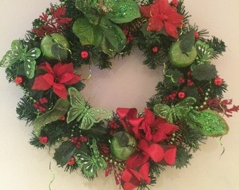 Large Christmas wreath with lime green and red decorations