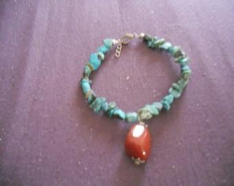 Cute Vintage Tourquoise and Carnelian Bracelet