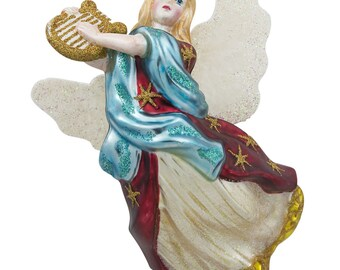 "5.5"" Angel Playing Harp Music Glass Christmas Ornament- SKU # CC-66"