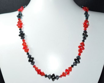 """Necklace """"Yes or No"""" light siam Swarovski crystal ab and hematite 2x"""