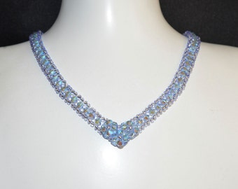 "Necklace ""river"" light sapphire Swarovski crystal ab2x"