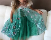 Beautiful Frozen Fever Inspired Dress, Cape Attached