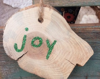 Rustic Log Slice Joy Christmas Ornament