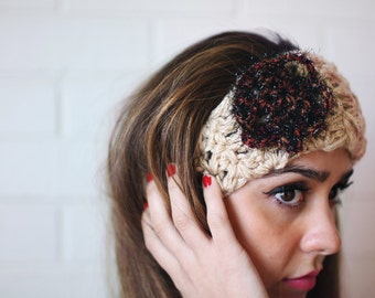 Handmade Beige Head Band with Flower Accent
