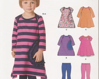 New Look 0274 6423 sewing pattern little girls' toddlers leggings dress sizes 1/2-4 UNCUT