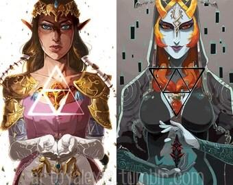 Legend of Zelda Twilight Princess Zelda and Midna Prints