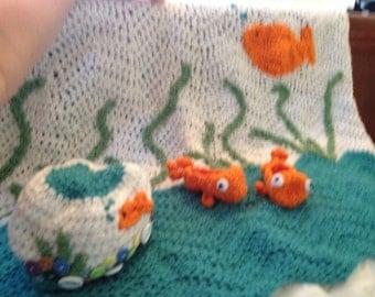 Custom goldfish baby blanket