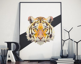 Triangle Tiger Poster - Polygonal Tiger Poster - Animal Print - Minimalist Tiger Print - Triangle Animal Poster
