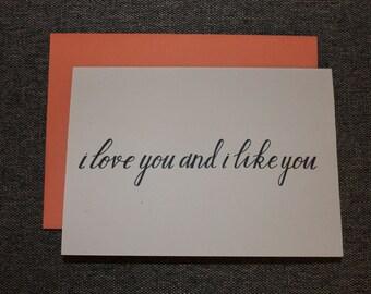 I Love You and I Like You Card. Love Card. Naughty Card. Funny Card. Adult Card.