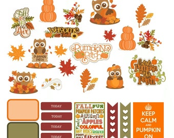 PRINTABLE pumpkin patch owl fall stickers