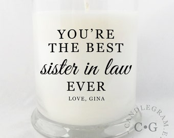 CandleGram 10oz Soy Candle....Best Sister, Sister in law, Daughter, Mom