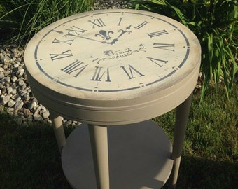 Vintage Clock Face End Table Hand Painted Annie Sloan Coco and Old Ochre