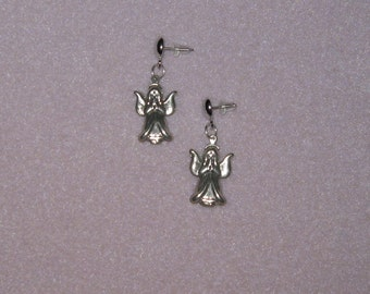 Hypoallergenic  / Titanium Posts with 925 Sterling Silver Angel Earrings