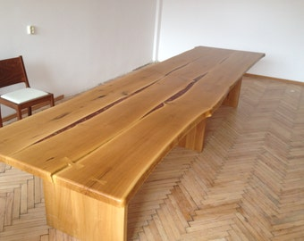 Live edge oak dining conference table